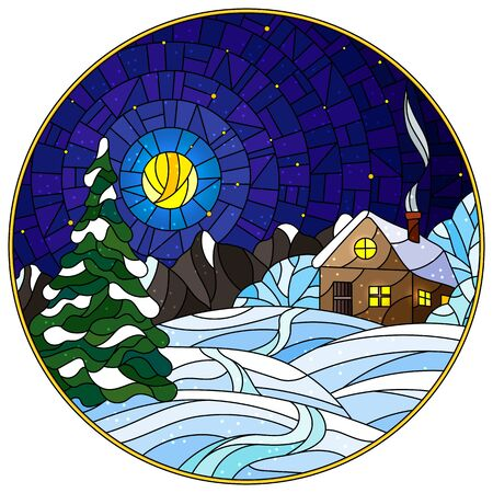 Illustration in vintage style winter landscape, village house and fir-tree on a background of snow, starry sky and moon, round image