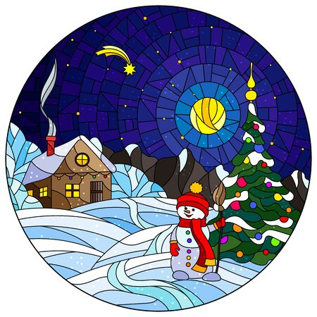 Illustration in stained glass style with Christmas landscape, rustic house, Christmas tree and snowman on snow background and night starry sky