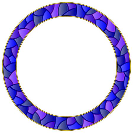 Illustration in stained glass style with bright round frame, blue frame isolated on white background Иллюстрация
