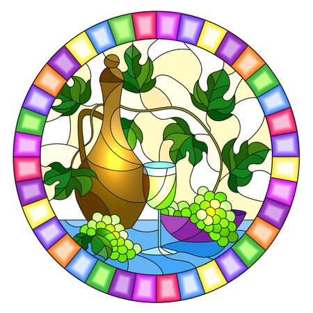 The illustration in stained glass style painting with a still life, a jug of wine, glass and grapes on a yellow background,oval image in bright frame Иллюстрация
