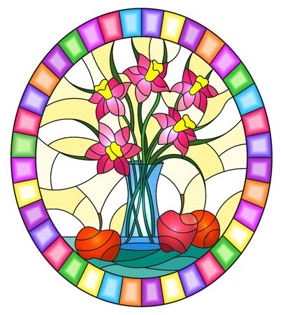 Illustration in stained glass style with bouquets of pink flowers in a blue vase and apples on table on yellow background, oval image in bright frame