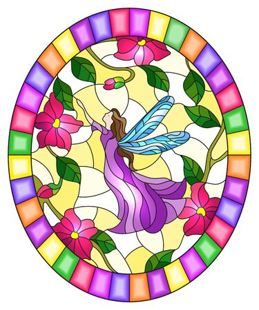 Illustration in stained glass style with a winged fairy in the sky,pink  flowers and greenery,oval image in bright frame Иллюстрация