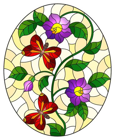 Illustration in stained glass style with abstract curly purple  flowers and a red butterfly on yellow background , oval image