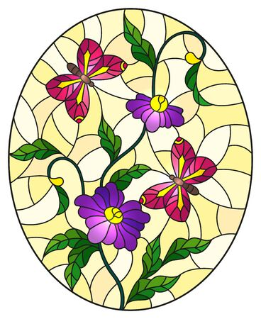 Illustration in stained glass style with abstract curly purple flowers and a pink butterfly on yellow background , oval image