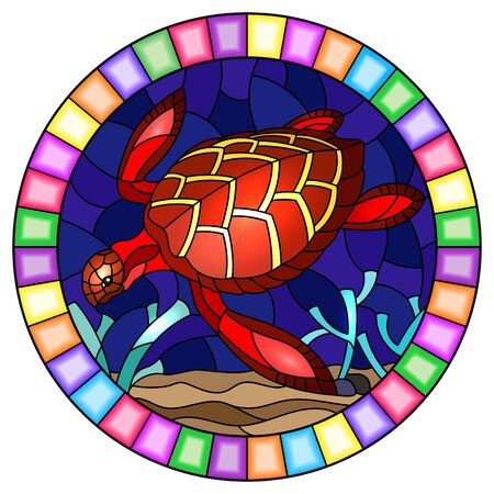 Illustration in stained glass style with a red sea turtle on the seabed background with algae, fish and stones, oval image in bright frame Иллюстрация