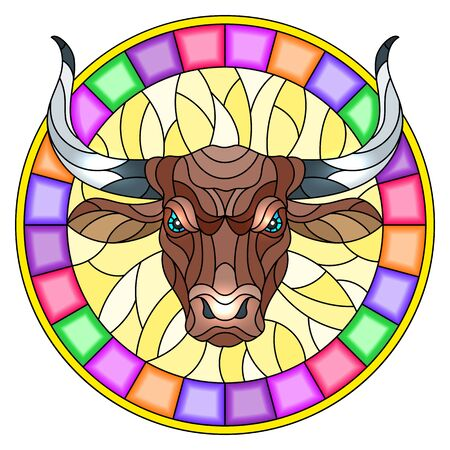 Illustration in stained glass style with  bull head in round bright frame on white background