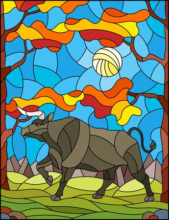 Illustration in stained glass style with wild bull on the background of autumn trees, mountains and sky Illustration