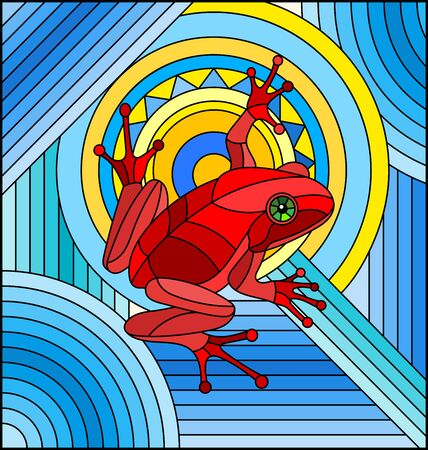 Illustration in stained glass style with abstract red frog on geometric blue with sun background