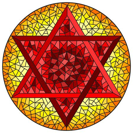 Illustration in stained glass style six-pointed star of David, red  star on a yellow background, round image Çizim