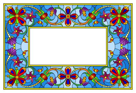 Illustration in stained glass style flower frame, bright flowers and  leaves in blue frame on a white background Иллюстрация