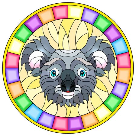 The illustration in stained glass style painting with a koala bears head , a circular image with bright frame Иллюстрация