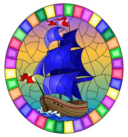 Illustration in stained glass style with an old ship sailing with blue sails against the sea and sky,  oval image in a bright frame