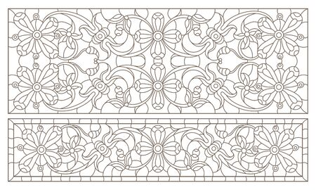 Set contour illustrations of stained glass with abstract swirls and flowers , horizontal orientation Çizim