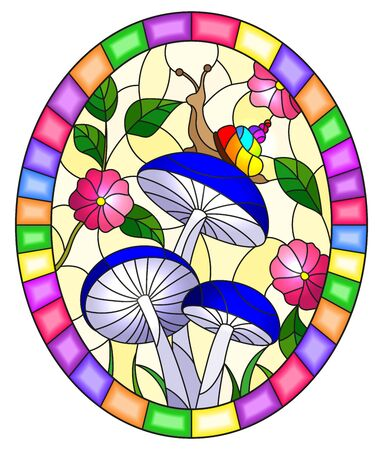 Illustration in stained glass style snail on the mushroom , on the background branches with leaves , grass and sky,oval image in bright frame Ilustração