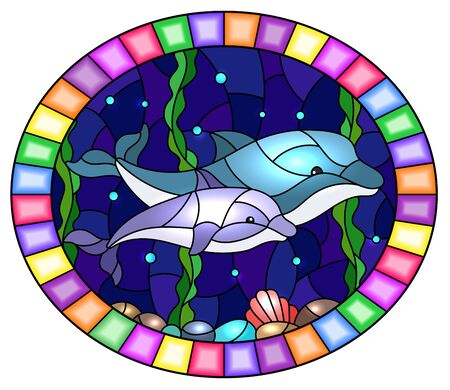 Illustration in stained glass style with a pair of dolphins on the background of water and the seabed,oval image in bright frame