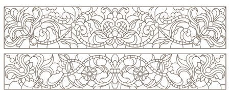Set contour illustrations of stained glass with abstract swirls and flowers , horizontal orientation Иллюстрация