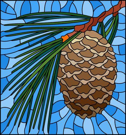 Illustration im Buntglasstil mit Zedernkegel auf einem Ast auf blauem Hintergrund