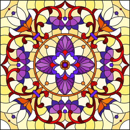 Illustration in stained glass style, square mirror image with floral ornaments and swirls,red and purple patterns on yellow background