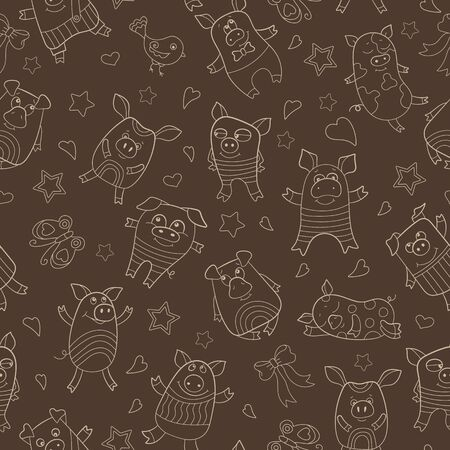 Seamless pattern with funny cartoon pigs , beige outline on a  brown background