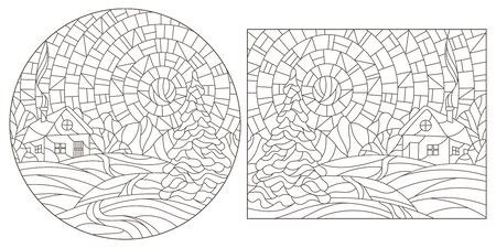 A set of contour illustrations of stained glass Windows with winter landscapes, dark contours on a white background Иллюстрация
