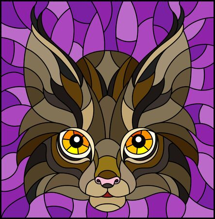 The illustration in stained glass style painting with a lynxs head on a purple background Ilustração
