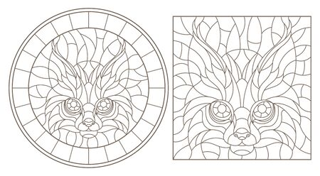 Set contour illustrations of stained glass with a lynx head, round and square image, dark contours on white background Иллюстрация