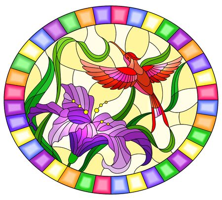 Illustration in stained glass style with bright red  Hummingbird against the foliage and purple flower of Lily, oval image in bright frame
