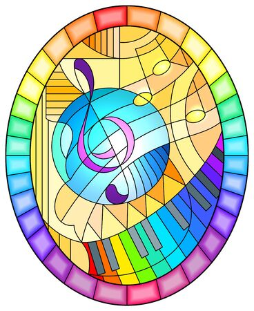 Abstract image of a treble clef on yellow background in stained glass style ,oval picture in a bright rainbow frame Иллюстрация