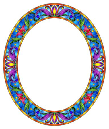 Illustration in stained glass style flower frame, bright flowers and  leaves in blue frame on a white background, oval image