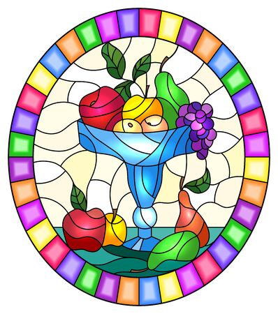 Illustration in stained glass style with still life, fruits and berries in a blue  vase,oval image in bright frame Иллюстрация