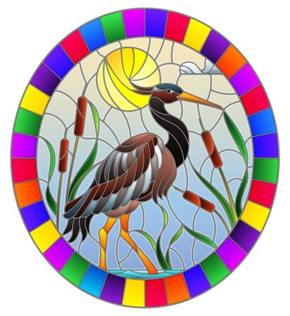 Illustration in stained glass style with brown heron , reeds on a pond in the sun, sky and clouds and sun ,oval image in bright frame