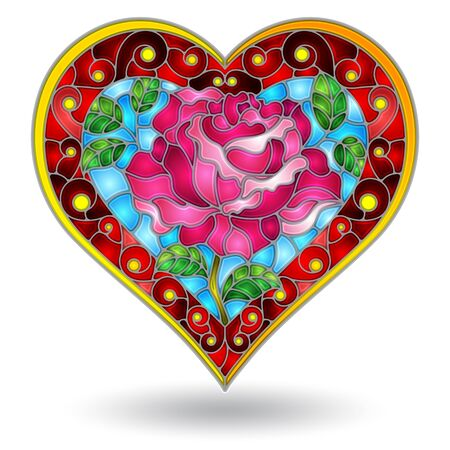 Stained glass illustration with abstract heart, bright heart with flowers on white background