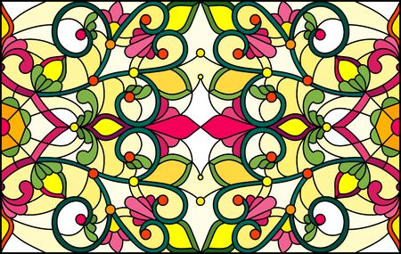 Illustration in stained glass style with abstract  swirls,  flowers and leaves  on a yellow  background,horizontal orientation Иллюстрация