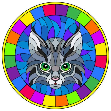 The illustration in stained glass style painting with a lynx's head on a blue background, round image in bright frame