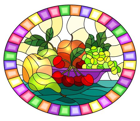 Illustration in stained glass style with still life, fruits and berries in purple bowl, oval image in bright frame