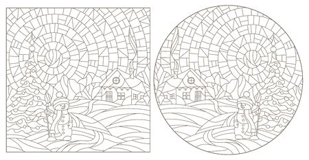 A set of contour illustrations of stained glass Windows with winter landscapes, dark contours on a white background Çizim