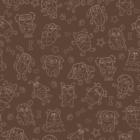 Seamless pattern with contour images cartoon dogs ,beige outline on a brown background