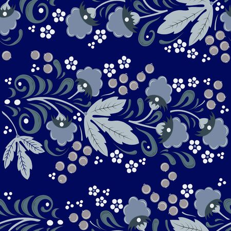Seamless floral pattern in folk painting style, flowers, leaves and berries on a bluebackground