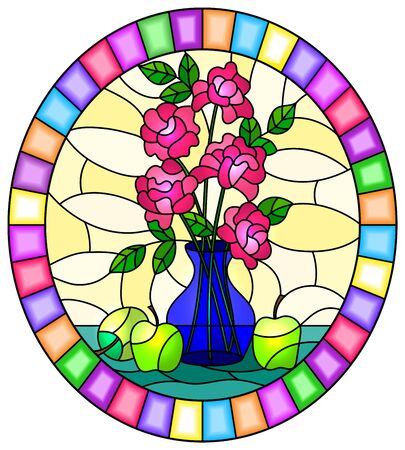 Illustration in stained glass style with bouquets of roses flowers in a blue vase and apples on table on yellow background, oval image in bright frame Banco de Imagens - 128625004