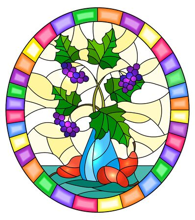 Illustration in stained glass style with still life, Bouquet of branches of black chokeberry in blue ceramic vase and  pears on a yellow background,oval image in bright frame Banco de Imagens - 128625007