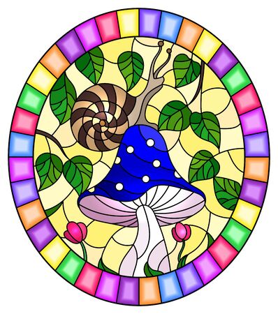 Illustration in stained glass style snail on a blue mushroom , on the background branches with leaves and  grass ,oval image in bright frame Ilustração
