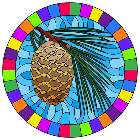 Illustration in stained glass style with cedar cone on a branch on a blue background, round image in bright frame