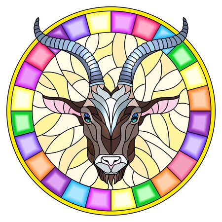 Illustration in stained glass style with goat head in round frame on white background Çizim