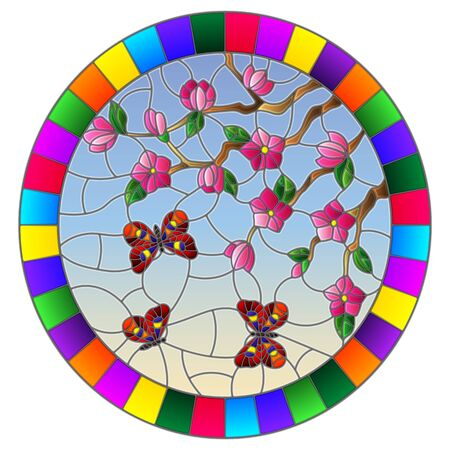 Illustration in stained glass style with cherry blossom tree and bright butterflies on blue sky background, oval image in bright frame