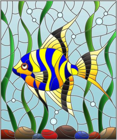 Illustration in stained glass style striped  fish scalar on the background of water and algae Ilustração