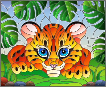 Illustration in stained glass style with baby leopard on the hunt, animal on the background of tropical leaves
