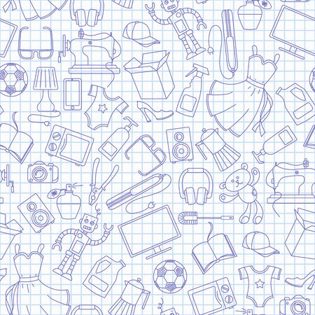 Seamless pattern on a variety of products and shopping, simple purchase icons, blue  contour  icons on the clean writing-book sheet in a cage