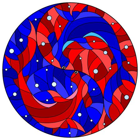 Illustration in stained glass style with two red and blue hammerheads on the background of water and air bubbles in the form of the Yin Yang sign