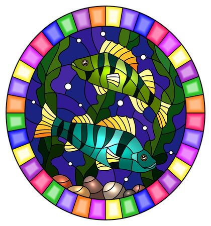 Illustration in stained glass style with a pair of fish  perch on the background of water and algae, round image in bright frame
