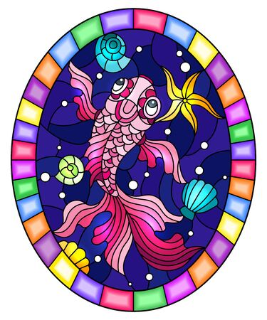 Illustration in stained glass style with a pink goldfish on a background of shells and water, oval image in bright frame